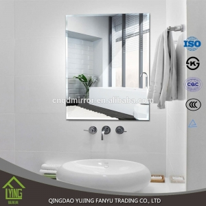 6mm frameless custom shape bathroom silver mirror
