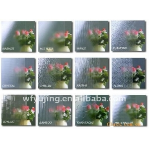 Wholesale clear karatachi patterned glass interior design with low price