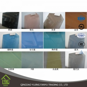 Yujing High Quality 4-12 mm Bronze, Grey, Blue, Green, Pink Tinted Float Glass
