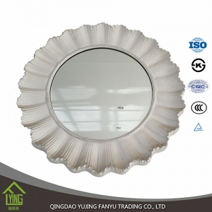 double coating 3mm decorative Bathroom Mirror sheet glass with round edge