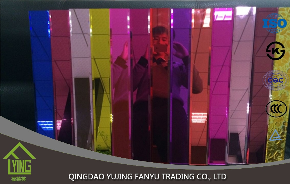 Decorative Colored Mirror Glass 1 8 3 4 5 6 7mm Thickness